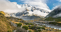 Hooker Bridge with Southern Alps and Mueller Lake, Aoraki,Mt. Cook National Park, Mackenzie Country, UNESCO World Heritage Area, New Zealand, NZ