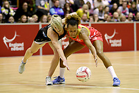 20.01.2018 Serena Guthrie of the England Roses and Shannon Francois of Silver Ferns during the Netball Quad Series netball match between England Roses and Silver Ferns at the Copper Box Arena in London. Mandatory Photo Credit: ©Ben Queenborough/Michael Bradley Photography