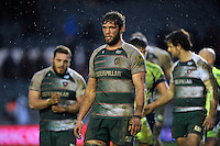 Dom Barrow of Leicester Tigers leaves the field dejected after the match. Aviva Premiership match, between Leicester Tigers and Sale Sharks on February 6, 2016 at Welford Road in Leicester, England. Photo by: Patrick Khachfe / JMP