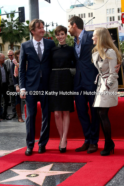 LOS ANGELES - DEC 13:  Tom Hooper, Anne Hathaway, Hugh Jackman, Amanda Seyfried at the Hollywood Walk of Fame ceremony for Hugh Jackman at Hollywood Boulevard on December 13, 2012 in Los Angeles, CA
