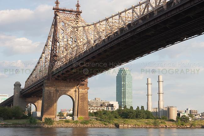 The Citibank Building in Long Island City, Queens seen under the Queensboro Bridge from Roosevelt Island, New York City