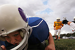 CHAD PILSTER &bull;&nbsp;Hays Daily News<br /> <br /> Ashton Putz, 8, does a drill where he dives onto a pad on Tuesday, September 10, 2013, during practice of the third grade Gamblers of the Hays Football Association  at Aubel-Bickle Park in Hays, Kansas.