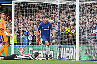 Alvaro Morata of Chelsea celebrates scoring his goal to take the lead 2 1 during the FA Cup 2nd round match between MK Dons and Maidstone United  at stadium:mk, Milton Keynes, England on 2 December 2017. Photo by Andy Rowland.