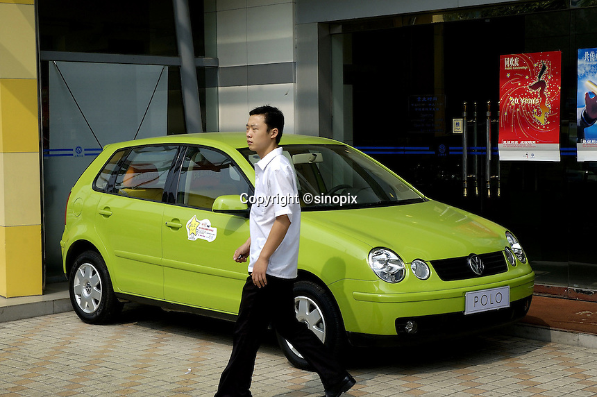 German Volkswagen POLO car on dispaly outside dealership in Shenzhen, China..