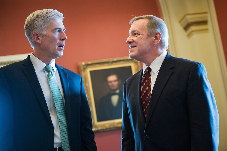 UNITED STATES - FEBRUARY 14: Neil Gorsuch, left, Supreme Court Justice nominee, meets with Senate Minority Whip Richard Durbin, D-Ill.,  in the Capitol, February 14, 2017. (Photo By Tom Williams/CQ Roll Call)