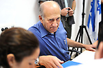 Former Prime Minister Ehud Olmert testifies before the inquiry commission on treatment of Gaza pullout evacuees... Photo By: Laura Weisman / JINI