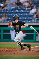 West Virginia Black Bears first baseman Kyle Watson (58) follows through on a swing during a game against the State College Spikes on August 30, 2018 at Medlar Field at Lubrano Park in State College, Pennsylvania.  West Virginia defeated State College 5-3.  (Mike Janes/Four Seam Images)