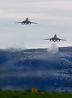 Polish Sukhoi Su22 Fitter of 40 Air Tactical squadron landing take off. BOLD AVENGER 2007 (BAR 07), a NATO  air exercise at Ørland Main Air Station, Norway. BAR 07 involved air forces from 13 NATO member nations: Belgium, Canada, the Czech Republic, France, Germany, Greece, Norway, Poland, Romania, Spain, Turkey, the United Kingdom and the United States of America. The exercise was designed to provide training for units in tactical air operations, involving over 100 aircraft, including combat, tanker and airborne early warning aircraft and about 1,450 personnel.