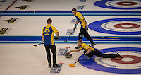 Glasgow. SCOTLAND. Sweden's, Niklas EDIN, moving towards the &quot;Hog Line to guide his &quot;Stone&quot; across the line during the, Le Gruy&egrave;re European Curling Championships. 2016 Venue, Braehead  Scotland<br /> Sunday  20/11/2016<br /> <br /> [Mandatory Credit; Peter Spurrier/Intersport-images]