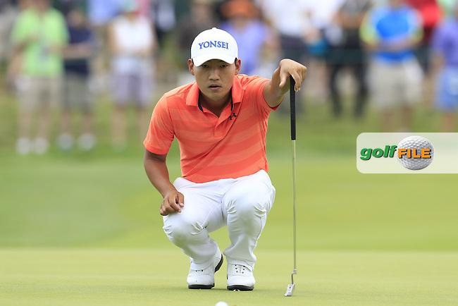 Sung Kang (KOR) on the 8th green during Thursday's Round 1 of the 2016 U.S. Open Championship held at Oakmont Country Club, Oakmont, Pittsburgh, Pennsylvania, United States of America. 16th June 2016.<br /> Picture: Eoin Clarke | Golffile<br /> <br /> <br /> All photos usage must carry mandatory copyright credit (&copy; Golffile | Eoin Clarke)