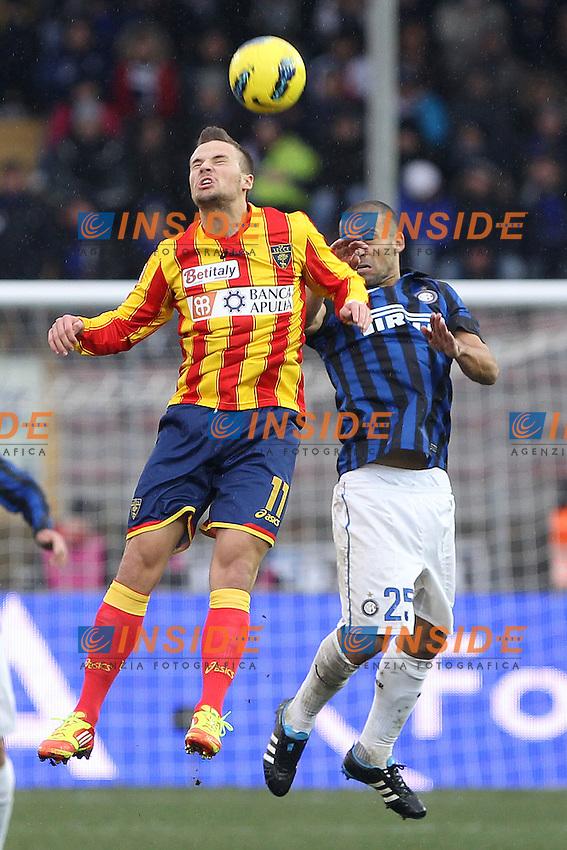 """Haris Seferovic Lecce Walter Samuel Inter.Lecce 29/01/2012 Stadio """"Via del Mare"""".Football / Calcio Serie A 2011/2012.Lecce vs Inter 1-0.Foto Insidefoto Paolo Nucci."""