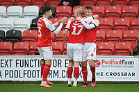 Fleetwood Town's Callum Connolly celebrates scoring the opening goal with team-mates Paddy Madden and Danny Andrew<br /> <br /> Photographer Kevin Barnes/CameraSport<br /> <br /> The EFL Sky Bet League One - Fleetwood Town v Peterborough United - Saturday 15th February 2020 - Highbury Stadium - Fleetwood<br /> <br /> World Copyright © 2020 CameraSport. All rights reserved. 43 Linden Ave. Countesthorpe. Leicester. England. LE8 5PG - Tel: +44 (0) 116 277 4147 - admin@camerasport.com - www.camerasport.com