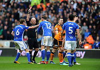 Birmingham City's Harlee Dean is shown a red card<br /> <br /> Photographer Ashley Crowden/CameraSport<br /> <br /> The EFL Sky Bet Championship - Wolverhampton Wanderers v Birmingham City - Sunday 15th April 2018 - Molineux - Wolverhampton<br /> <br /> World Copyright &copy; 2018 CameraSport. All rights reserved. 43 Linden Ave. Countesthorpe. Leicester. England. LE8 5PG - Tel: +44 (0) 116 277 4147 - admin@camerasport.com - www.camerasport.com