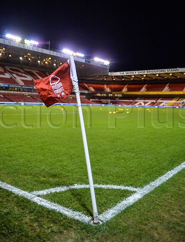 26.01.2016. City Ground, Nottingham, England. Skybet Championship. Nottingham Forest versus Queens Park Rangers. A view of the City Ground pitch and windswept corner flag before the match.