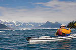 Alaska, Prince William Sound, Sea kayaker, Ice, Columbia Bay, Columbia Glacier, USA