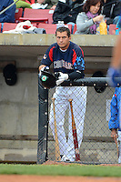 Kane County Cougars outfielder Albert Almora #2 in the dugout waiting to bat during a game against the Beloit Snappers on May 26, 2013 at Fifth Third Bank Ballpark in Geneva, Illinois.  Beloit defeated Kane County 6-5.  (Mike Janes/Four Seam Images)