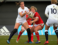 Emily Scarratt (left) and Emily Belchos compete for the ball during the 2017 International Women's Rugby Series rugby match between England Roses and Canada at Rugby Park in Christchurch, New Zealand on Tuesday, 13 June 2017. Photo: Dave Lintott / lintottphoto.co.nz