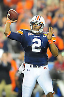 Jan 10, 2011; Glendale, AZ, USA; Auburn Tigers quarterback Cameron Newton (2) throws a pass during the first half of the 2011 BCS National Championship game against the Oregon Ducks at University of Phoenix Stadium.  Mandatory Credit: Mark J. Rebilas-