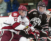 Sean Malone (Harvard - 17), Davey Middleton (Brown - 21) - The visiting Brown University Bears defeated the Harvard University Crimson 2-0 on Saturday, February 22, 2014 at the Bright-Landry Hockey Center in Cambridge, Massachusetts.