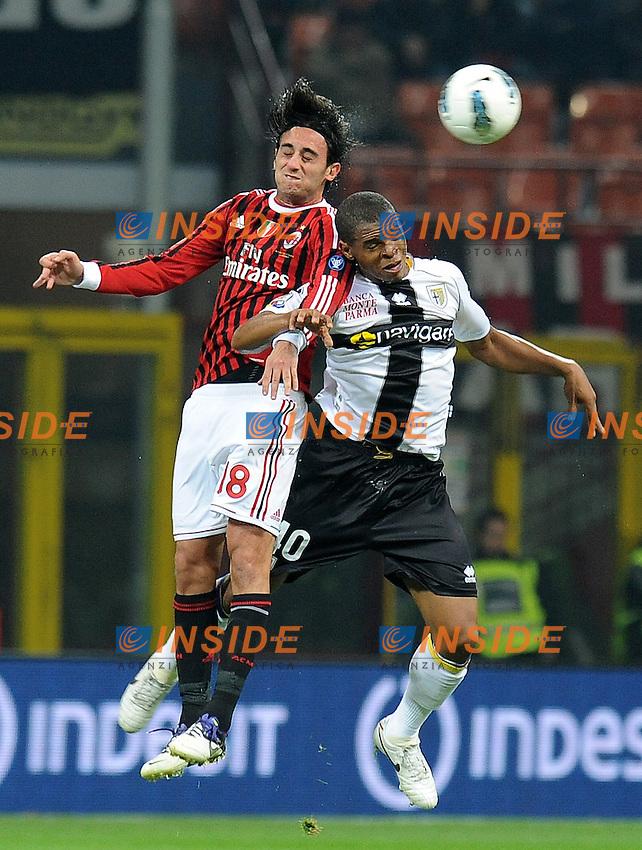 "Alberto AQUILANI (Milan), Obiorah NWANKWO (Parma).Milano 26/10/2011 Stadio ""Giuseppe Meazza"".Serie A 2011/2012.Football Calcio Milan Vs Parma.Foto Insidefoto Alessandro Sabattini."