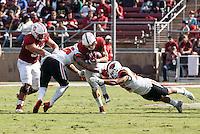 Stanford, CA - November 5, 2016: Christian McCaffrey during  the Stanford vs Oregon State game at Stanford Stadium Saturday. <br /> <br /> Stanford won 26-15.