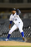 Peoria Javelinas pitcher Miguel Almonte (19) during an Arizona Fall League game against the Glendale Desert Dogs on October 14, 2014 at Surprise Stadium in Surprise, Arizona.  Glendale defeated Peoria 9-0.  (Mike Janes/Four Seam Images)