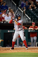 Syracuse Chiefs right fielder Moises Sierra (26) bats during a game against the Buffalo Bisons on July 6, 2018 at Coca-Cola Field in Buffalo, New York.  Buffalo defeated Syracuse 6-4.  (Mike Janes/Four Seam Images)