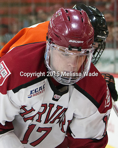 Sean Malone (Harvard - 17) - The Harvard University Crimson defeated the visiting Princeton University Tigers 5-0 on Harvard's senior night on Saturday, February 28, 2015, at Bright-Landry Hockey Center in Boston, Massachusetts.