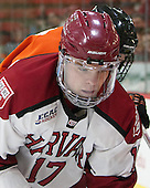 Sean Malone (Harvard - 17) - The Harvard University Crimson defeated the visiting Princeton University Tigers 5-0 on Harvard's senior night on Saturday, February 28, 2015, at Bright-Landry Hockey Center in Boston, Massachusetts.