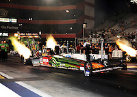 Jun. 15, 2012; Bristol, TN, USA: NHRA top fuel dragster driver Terry McMillen during qualifying for the Thunder Valley Nationals at Bristol Dragway. Mandatory Credit: Mark J. Rebilas-