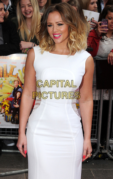 """Kimberley Walsh.The """"All Stars"""" UK film premiere, Vue West End cinema, Leicester Square, London, England..April 22nd, 2013.half length white sleeveless dress sheer sides panels pink lipstick  .CAP/PP/BK.©Bob Kent/PP/Capital Pictures..."""