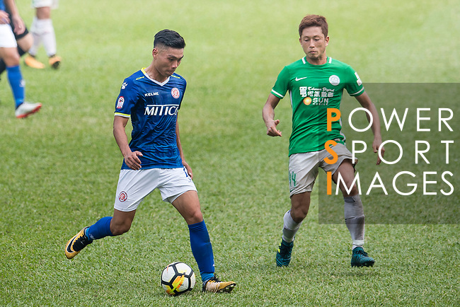Yiu Kwok of Rangers of Rangers (L) in action against Yuto Nakamura of Wofoo Tai Po (R) during the week three Premier League match between BC Rangers and Wofoo Tai Po at Sham Shui Po Sports Ground on September 17, 2017 in Hong Kong, China. Photo by Marcio Rodrigo Machado / Power Sport Images