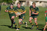 J. Maher with M. Hallsell & J. Chipman in support. Counties Manukau Premier Club Rugby, Pukekohe v Waiuku  played at the Colin Lawrie field, on the 3rd of 2006.Pukekohe won 36 - 14