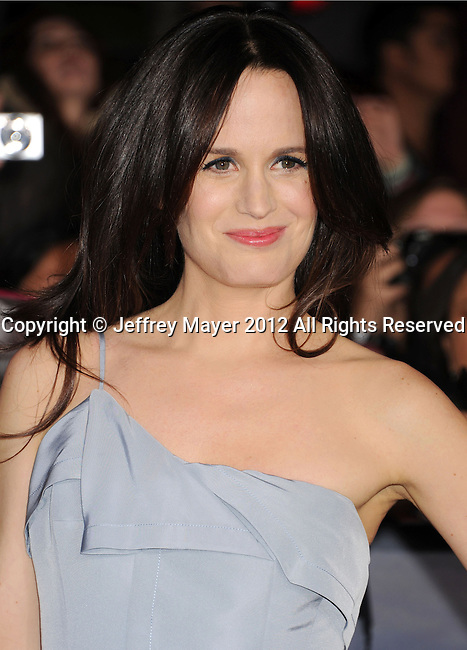 LOS ANGELES, CA - NOVEMBER 12: Elizabeth Reaser arrives at 'The Twilight Saga: Breaking Dawn - Part 2' Los Angeles premiere at Nokia Theatre L.A. Live on November 12, 2012 in Los Angeles, California.