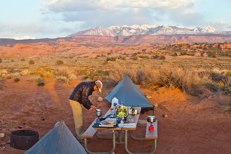 Moab, Utah, camping, Sand Flats Recreation Area, SFRA, public lands, Colorado Plateau, La Sal Mountains, car camping, Gary Parker,