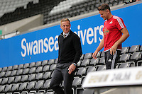 Pictured: Manager Garry Monk of Swansea arrives Sunday 30 August 2015<br />