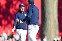Richie Fowler and Phil Mickelson (Team USA) on the 8th green during the Saturday morning Foursomes at the Ryder Cup, Hazeltine national Golf Club, Chaska, Minnesota, USA.  01/10/2016<br /> Picture: Golffile | Fran Caffrey<br /> <br /> <br /> All photo usage must carry mandatory copyright credit (&copy; Golffile | Fran Caffrey)