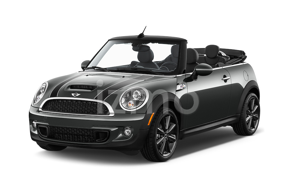 2015 MINI Mini Cooper S 2 Door Convertible Angular Front stock photos of front three quarter view