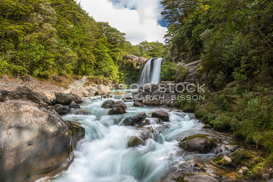The Tawhai Falls, Tongariro National Park, New Zealand - stock photo, canvas, fine art print