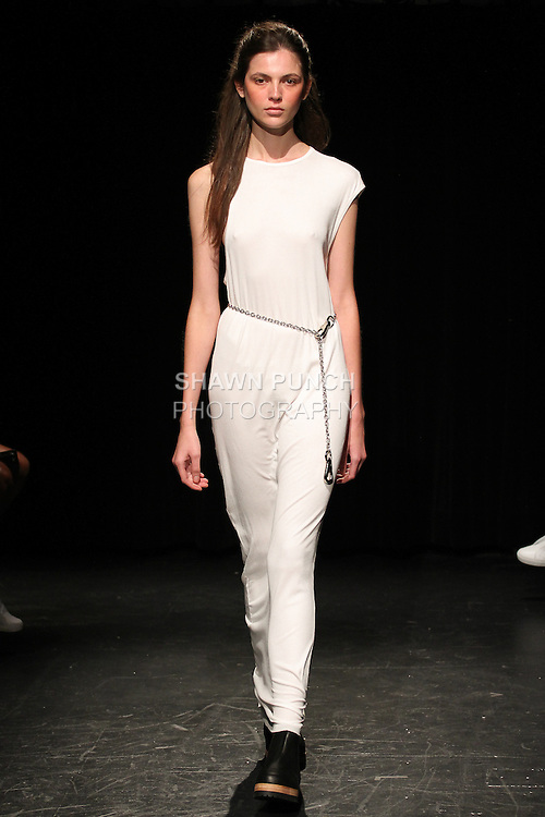 Model Aline walks runway in an outfit from the Linder Spring Summer 2017 collection by Sam Linder and Kirk Millar on July 11 2016, during New York Fashion Week Men's Spring Summer 2017.