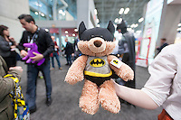 Batman themed plush at the Gund booth at the114th North American International Toy Fair in the Jacob Javits Convention center in New York on Sunday, February 19, 2017.  The four day trade show with over 1000 exhibitors connects buyers and sellers and draws tens of thousands of attendees.  The toy industry generates over $26 billion in the U.S. alone and Toy Fair is the largest toy trade show in the Western Hemisphere. (© Richard B. Levine)