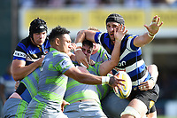 Charlie Ewels and Luke Charteris of Bath Rugby in action at a maul. Aviva Premiership match, between Bath Rugby and Newcastle Falcons on September 23, 2017 at the Recreation Ground in Bath, England. Photo by: Patrick Khachfe / Onside Images