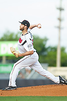 Nashville Sounds starting pitcher Taylor Jungmann (33) delivers a pitch to the plate against the Oklahoma City RedHawks at Greer Stadium on July 25, 2014 in Nashville, Tennessee.  The Sounds defeated the RedHawks 2-0.  (Brian Westerholt/Four Seam Images)