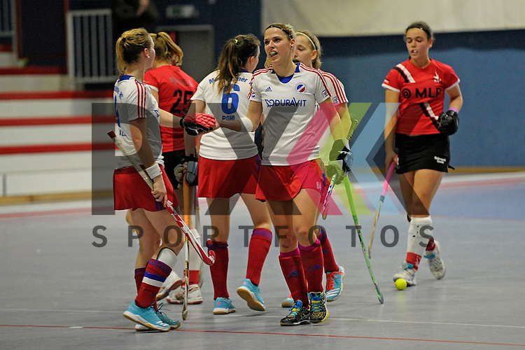 GER - Mannheim, Germany, January 10: During the 1. Bundesliga Sued Damen indoor hockey match between TSV Mannheim (red) and Mannheimer HC (white) on January 10, 2016 at TSV Mannheim in Mannheim, Germany.  (L-R) Sophia Willig #9 of Mannheimer HC, Vera Battenberg #64 of Mannheimer HC<br /> <br /> Foto &copy; PIX-Sportfotos *** Foto ist honorarpflichtig! *** Auf Anfrage in hoeherer Qualitaet/Aufloesung. Belegexemplar erbeten. Veroeffentlichung ausschliesslich fuer journalistisch-publizistische Zwecke. For editorial use only.
