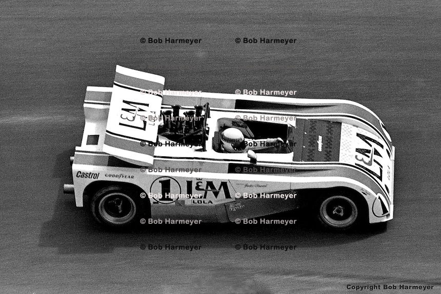 Jackie Stewart drives the 1971 L&M Lola Chevrolet Can-Am car at Le Circuit Mont Tremblant, St. Jovite, Quebec, Canada.
