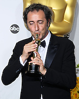 HOLLYWOOD, LOS ANGELES, CA, USA - MARCH 02: Paolo Sorrentino at the 86th Annual Academy Awards - Press Room held at Dolby Theatre on March 2, 2014 in Hollywood, Los Angeles, California, United States. (Photo by Xavier Collin/Celebrity Monitor)