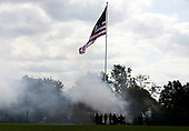 A 19 cannon salute opens the ceremony where United States President George W. Bush will participate in an Armed Forces Change of Command ceremony and official Hail and Farewell tribute in honor for out-going Chairman of the Joint Chiefs of Staff. US Marine Corps General Peter Pace and in-coming Chairman of the Joint Chiefs of Staff US Navy Admiral Michael Mullen at Fort Myer, Virginia on October 1, 2007.<br /> Credit: Aude Guerrucci / Pool via CNP