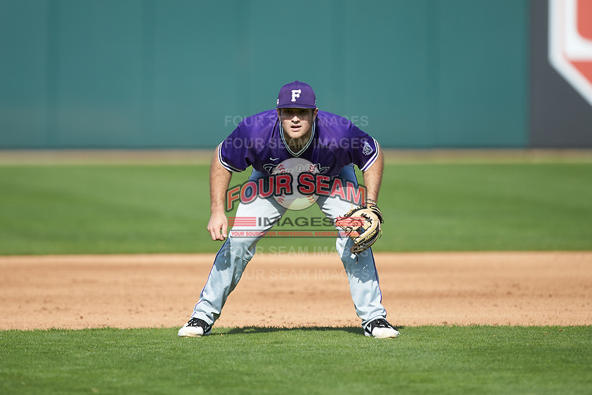 Furman Paladins third baseman Jared Mihalik (33) on defense against the Wake Forest Demon Deacons at BB&T BallPark on March 2, 2019 in Charlotte, North Carolina. The Demon Deacons defeated the Paladins 13-7. (Brian Westerholt/Four Seam Images)