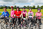 L-R Betty O'Sullivan from Abbeyfale, Breda Coffey from Beaufort, Catherine O'Sullivan from Beaufort, Anne O'Sullivan Rouse from BeaufortMary Gleeson from Abbeyfale and Mary Coffey from Beaufort at the starting line of Ring of the Reeks cycle in Beaufort GAA club last Saturday morning.