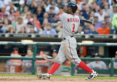 June 15, 2010: Washington Nationals center fielder Nyjer Morgan (#1) watches fly ball in game action between the Washington Nationals and the Detroit Tigers at Comerica Park in Detroit, Michigan.  The Tigers defeated the Nationals 7-4..